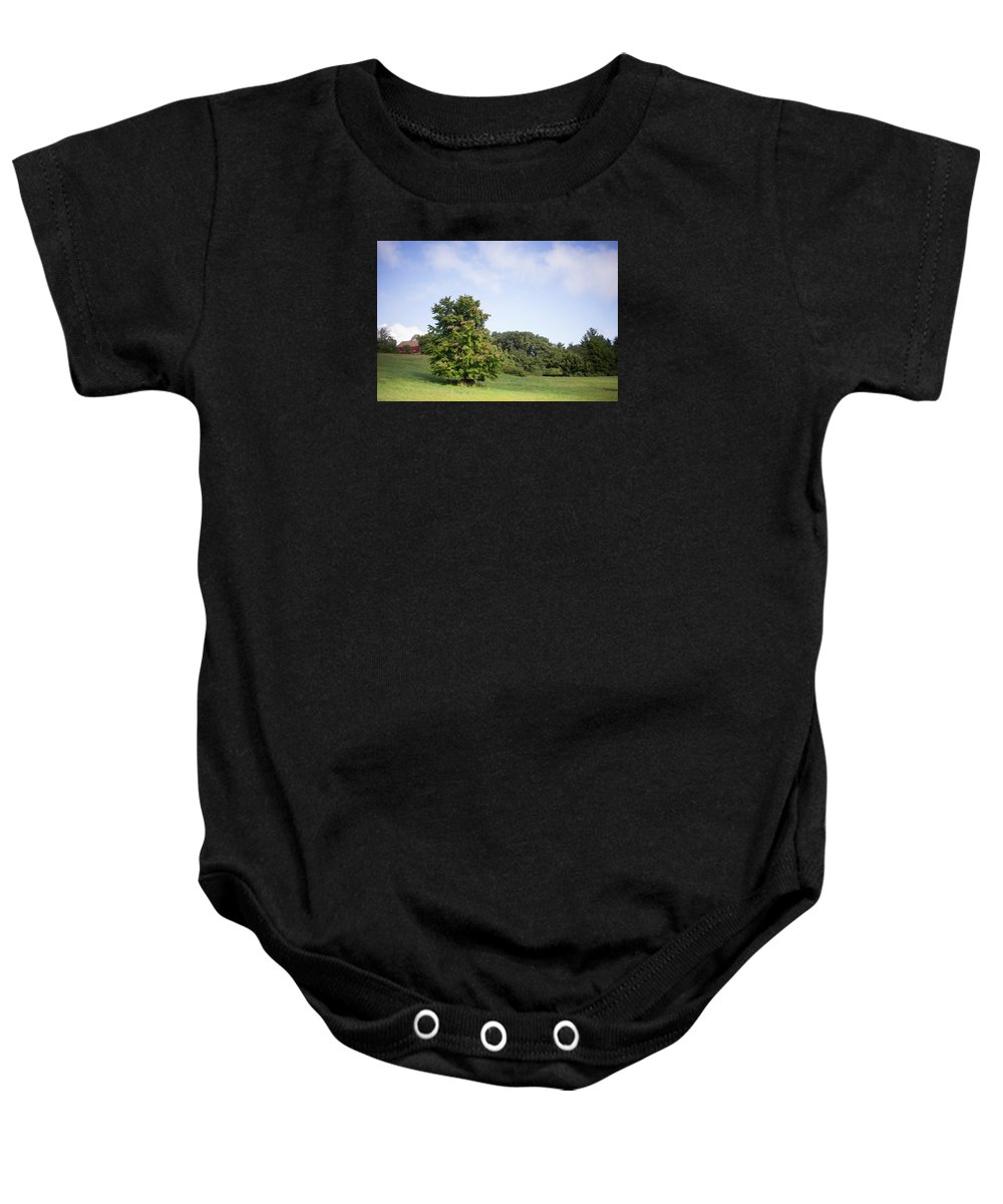 Landscape Baby Onesie featuring the photograph The Beginning Of Autumn by Black Crow Landing