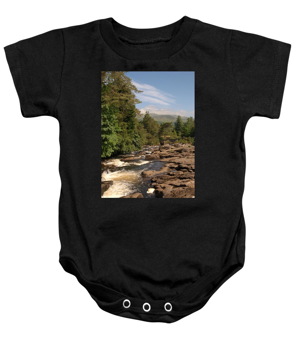 Water Baby Onesie featuring the photograph The Falls Of Dochart And Bridge At Killin In Scottish Highlands by Victor Lord Denovan
