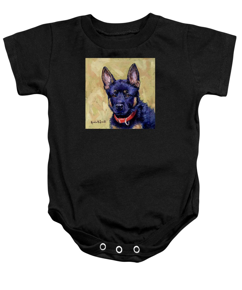 German Shepherd Baby Onesie featuring the photograph The Guard Dog by Marsha McDonald