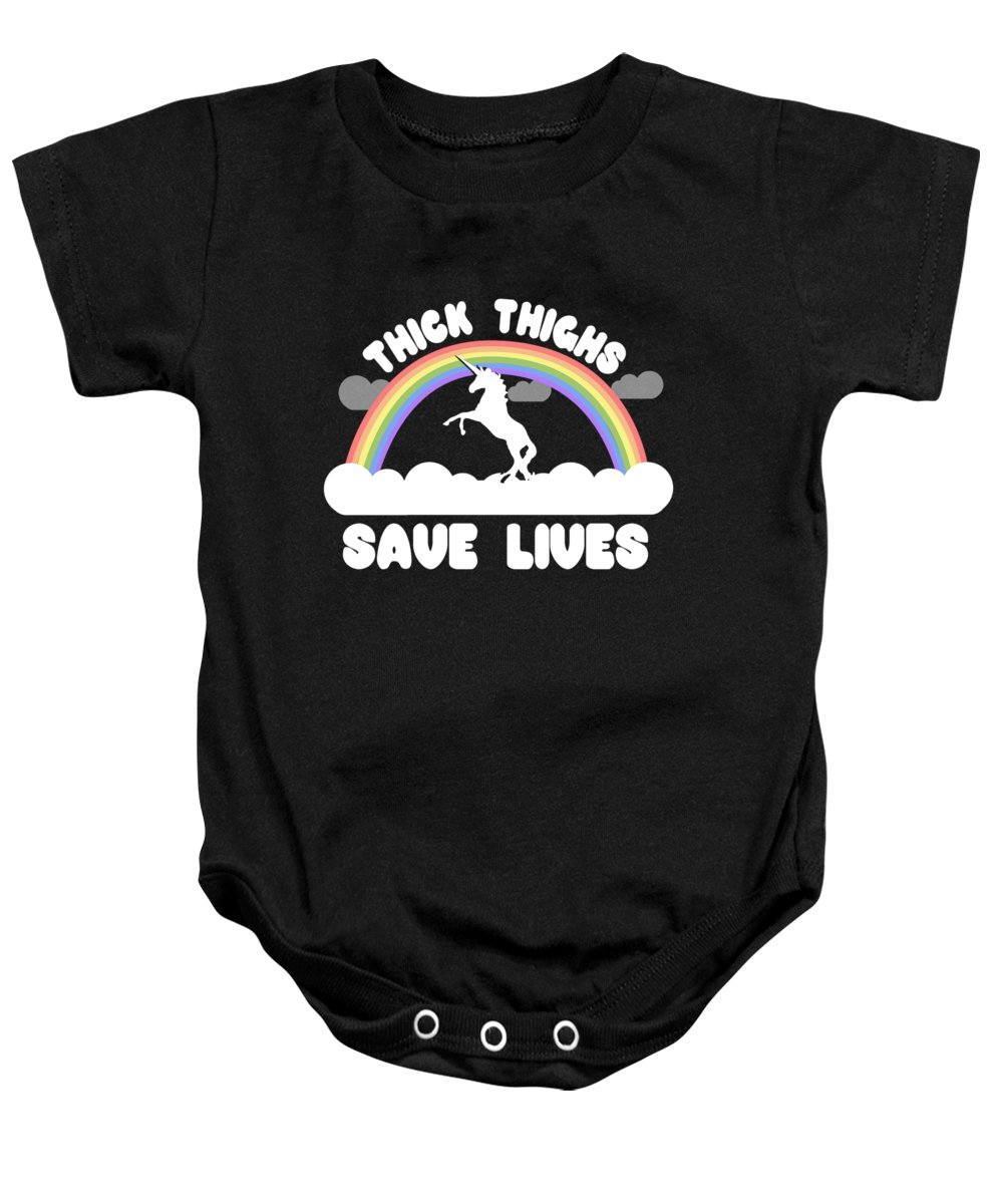 Cool Baby Onesie featuring the digital art Thick Thighs Save Lives by Flippin Sweet Gear