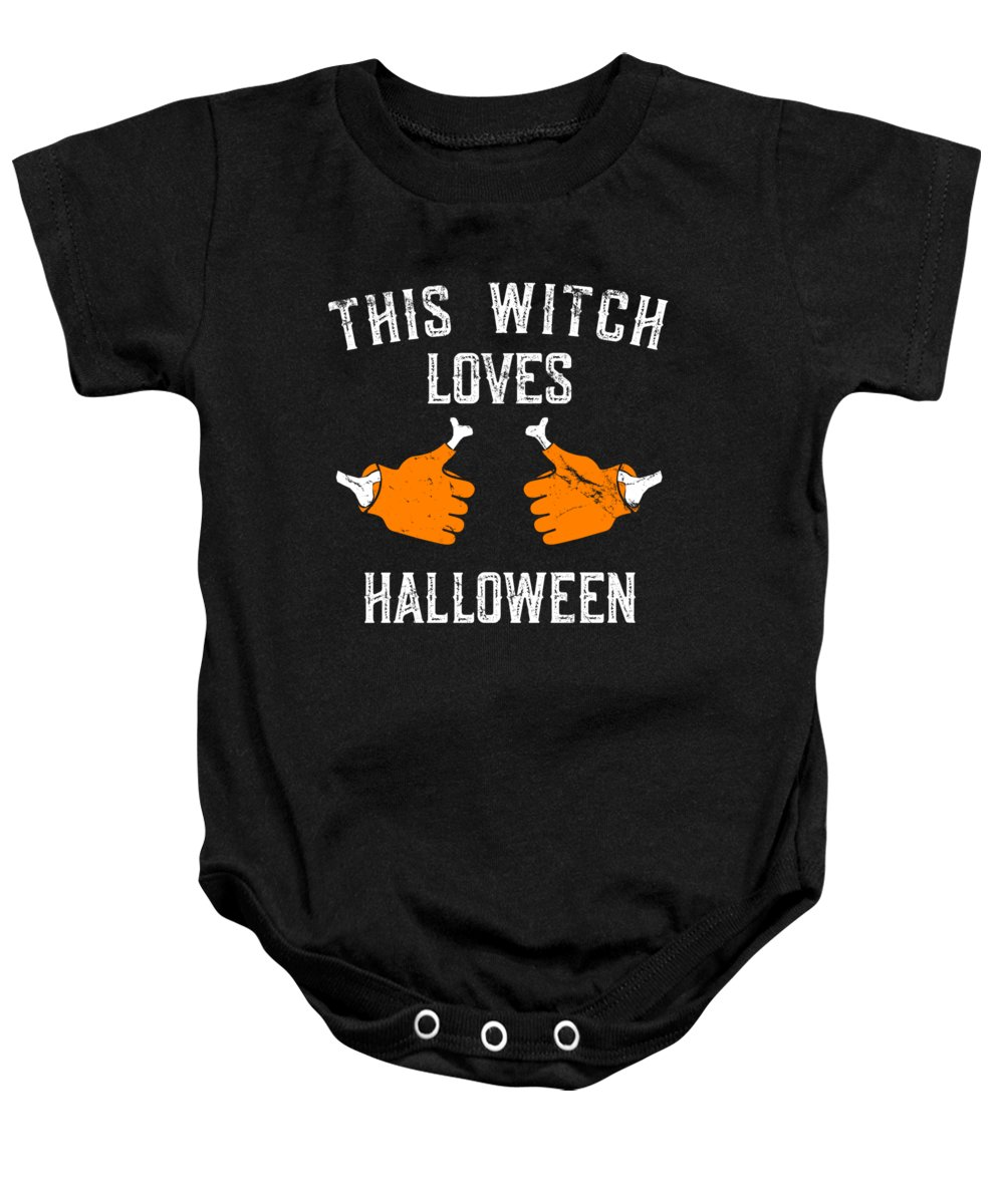 Cool Baby Onesie featuring the digital art This Witch Loves Halloween by Flippin Sweet Gear