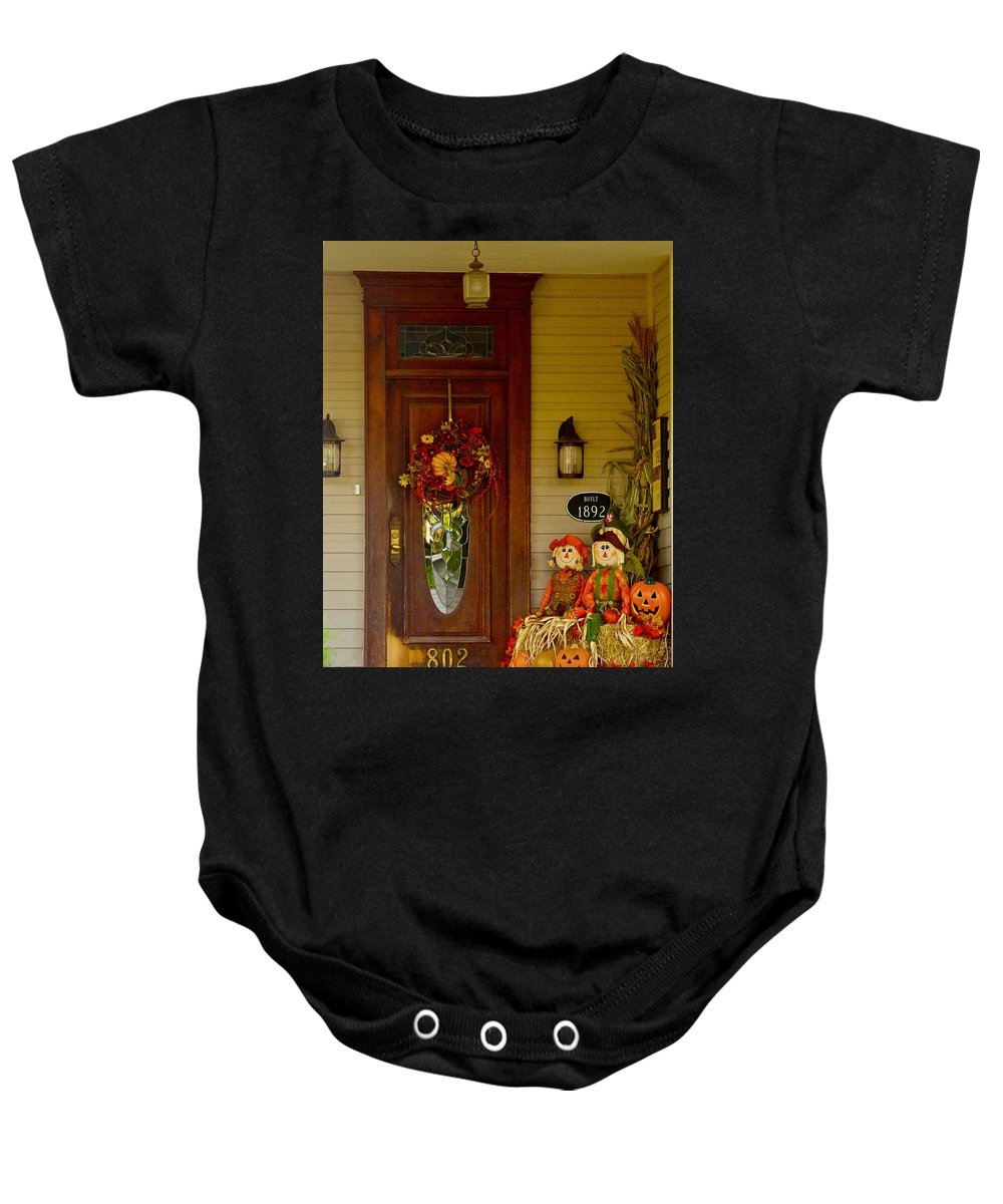 Historic Home Baby Onesie featuring the photograph Waiting For Halloween by Marsha McDonald