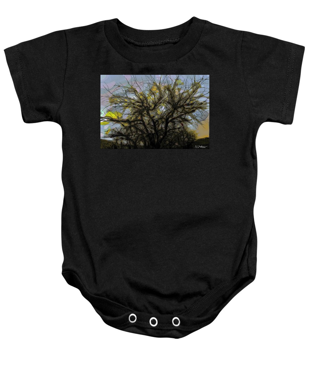Tree Baby Onesie featuring the digital art Wasteway Willow 11 by Bruce Whitaker