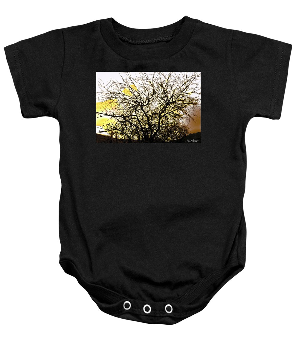 Tree Baby Onesie featuring the digital art Wasteway Willow 18 by Bruce Whitaker