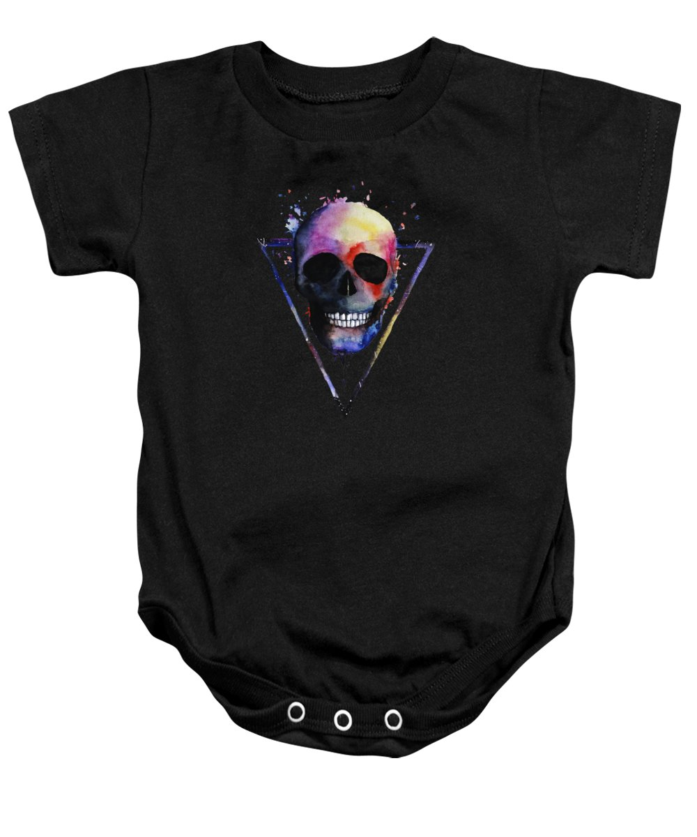 Mens-skull-apparel Baby Onesie featuring the digital art Watercolor Skull Design For Women by Funny4You