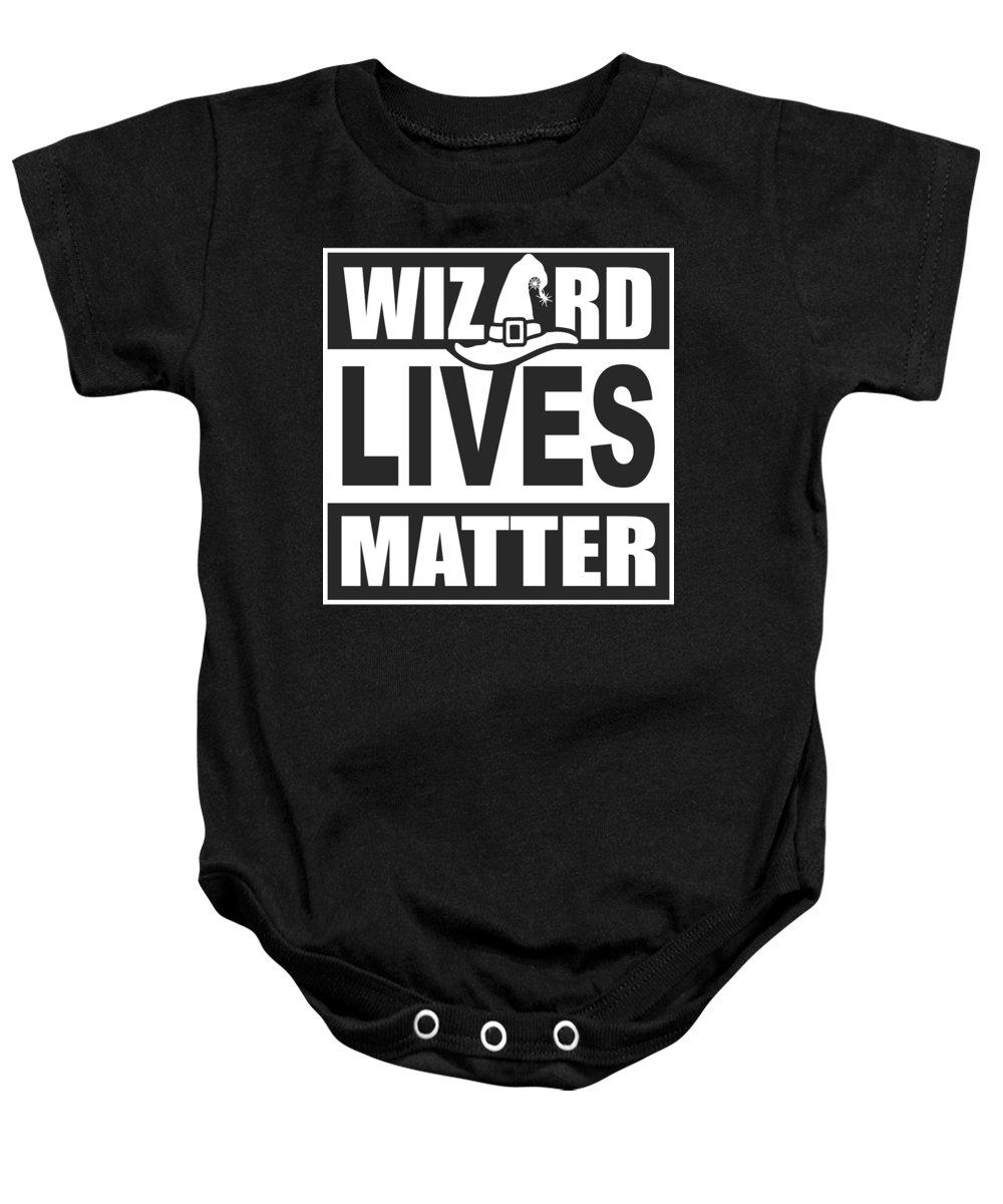 Halloween Baby Onesie featuring the digital art Wizard Lives Matter Retro Halloween Sorcerer Dark by Nikita Goel