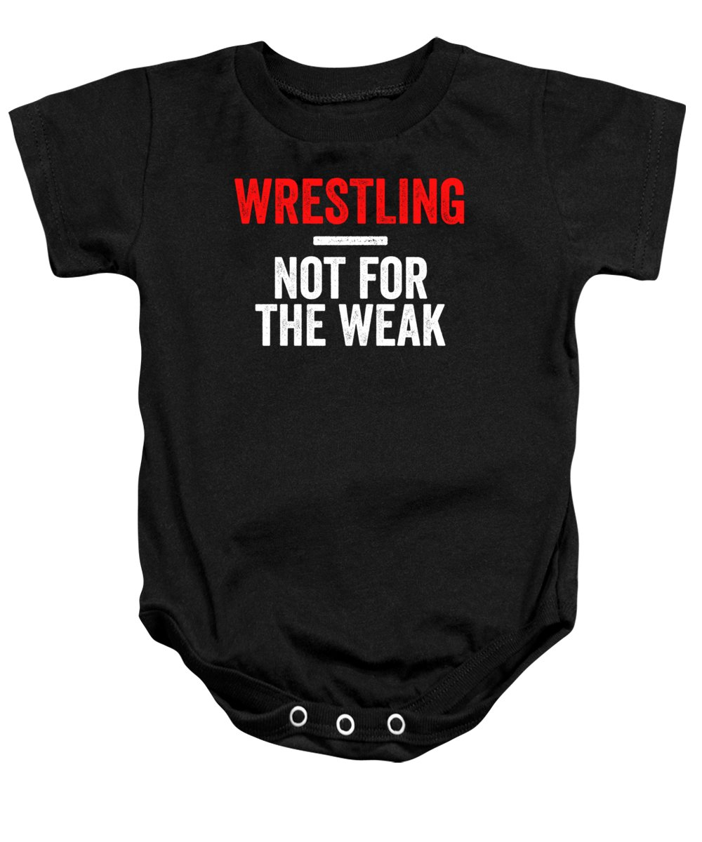 Wrestle Baby Onesie featuring the digital art Wrestling Not For The Weak Red White Gift Light by J P