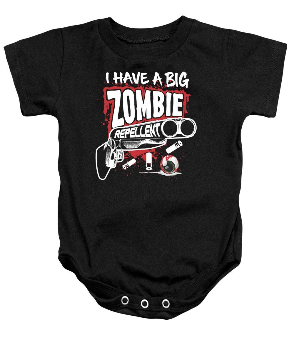 Halloween Baby Onesie featuring the digital art Zombie Repellent Halloween Funny Gun Art Dark by Nikita Goel