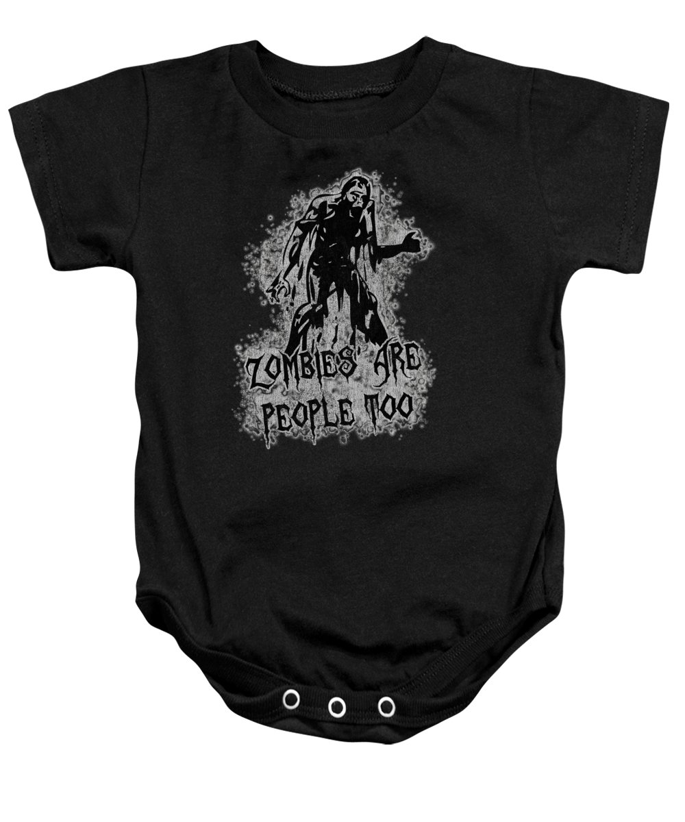 Cool Baby Onesie featuring the digital art Zombies Are People Too Halloween Vintage by Flippin Sweet Gear