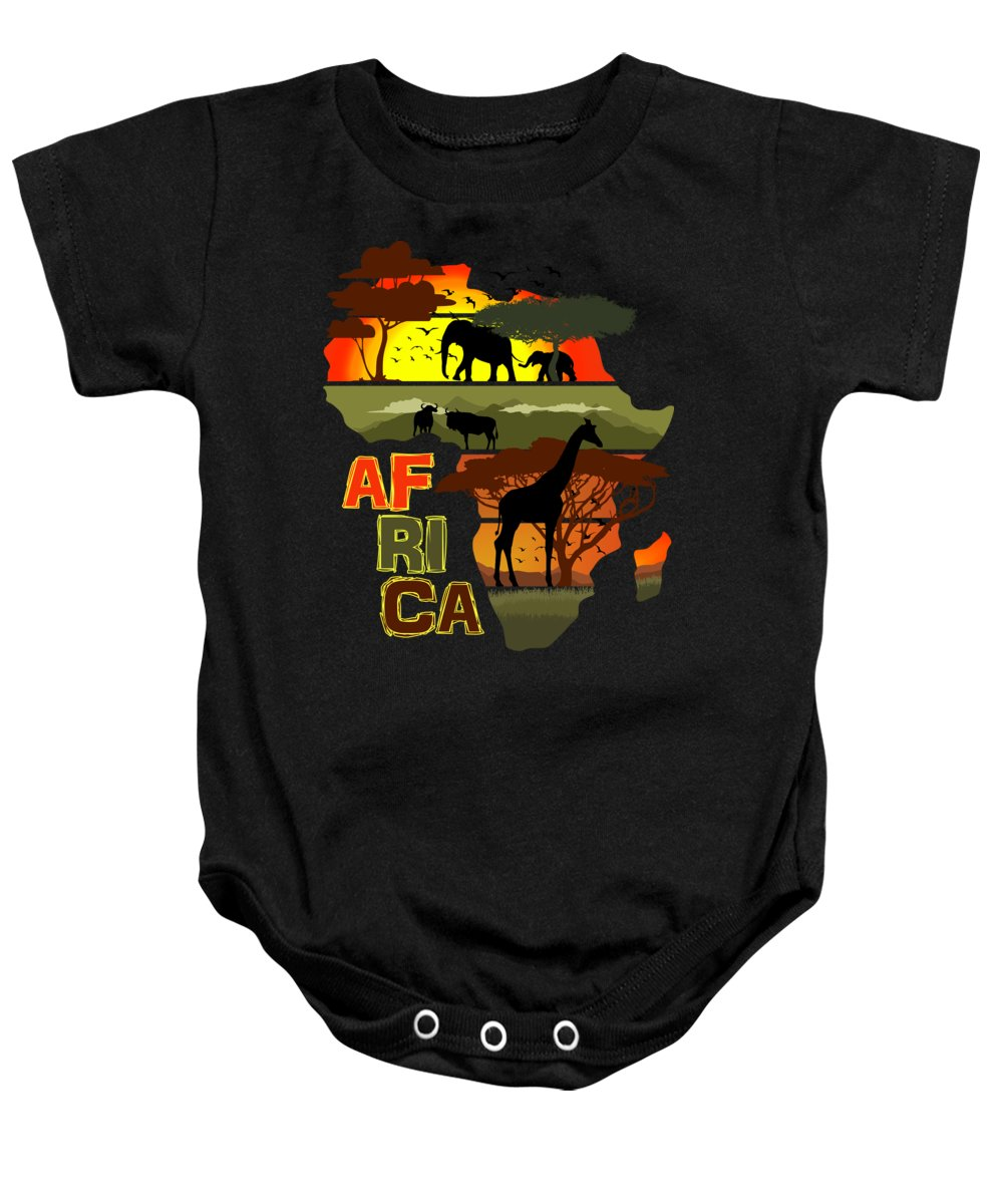 Africa Baby Onesie featuring the digital art Africa by Filip Schpindel