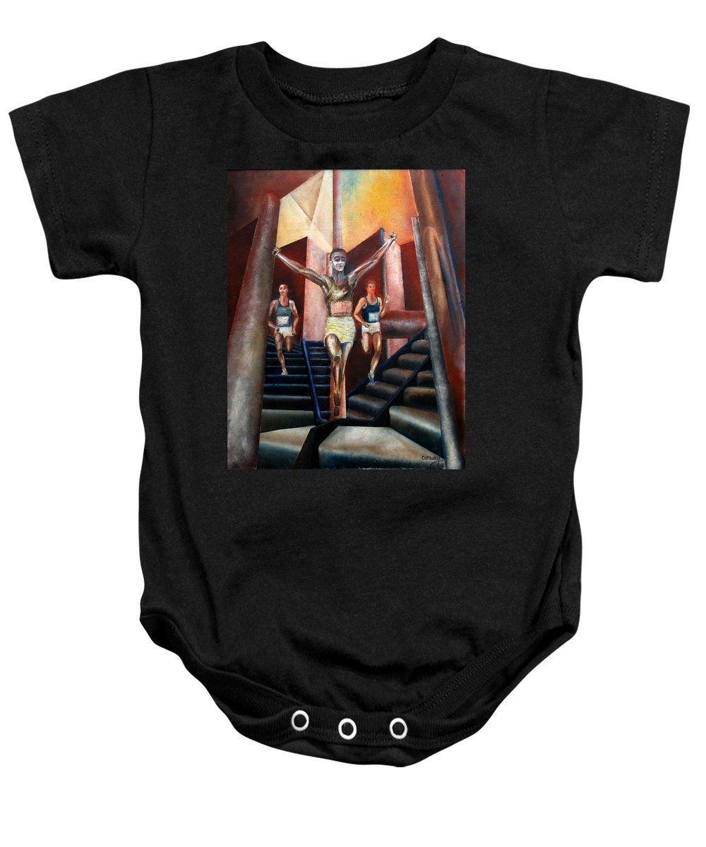 Figures Baby Onesie featuring the painting A day in the life by Tom Conway