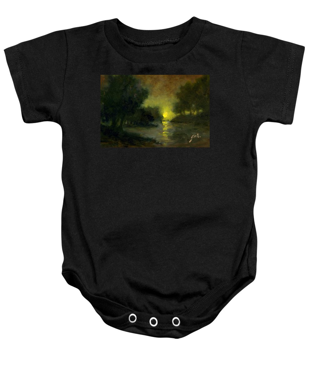 Miniaturesoil Paintings Baby Onesie featuring the painting A Dusky Evening by Jim Gola
