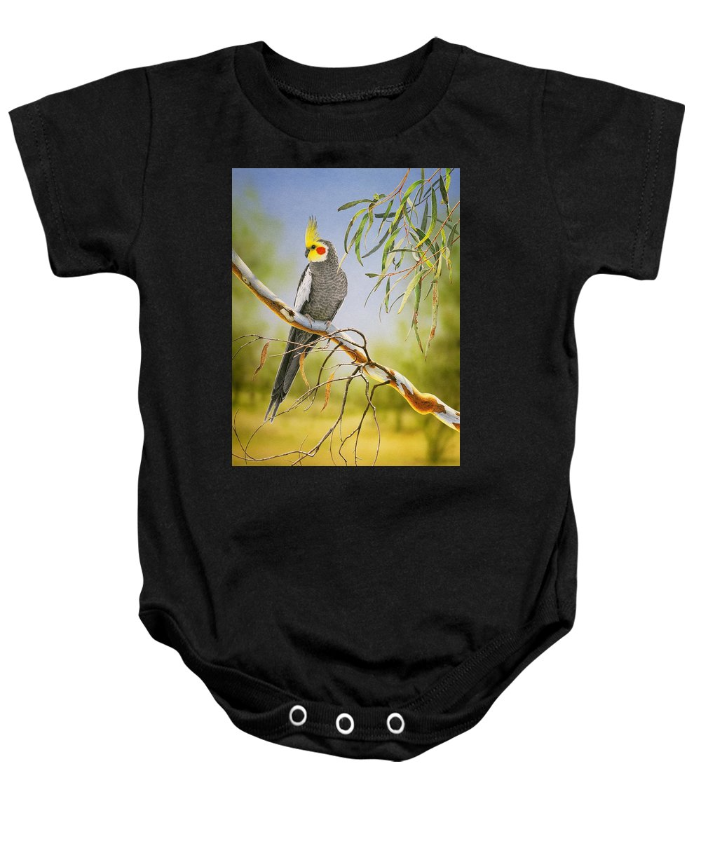 Bird Baby Onesie featuring the painting A Friendly Face - Cockatiel by Frances McMahon