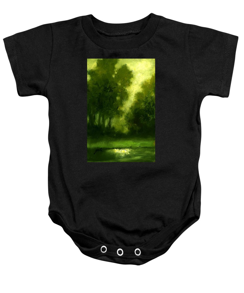 Miniature Oil Paintings Baby Onesie featuring the painting A Hazy Day by Jim Gola