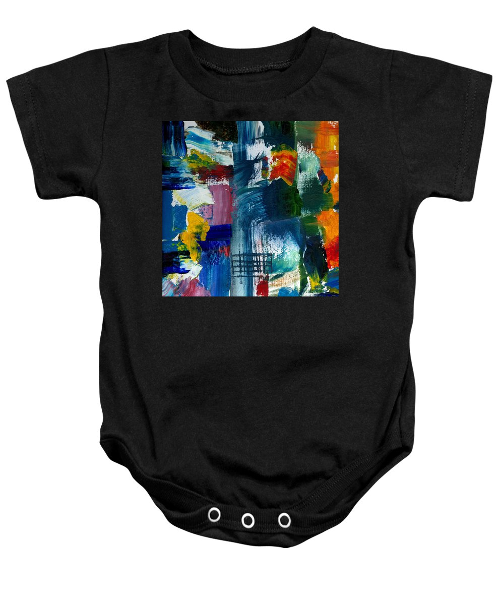 Abstract Collage Baby Onesie featuring the painting Abstract Color Relationships l by Michelle Calkins