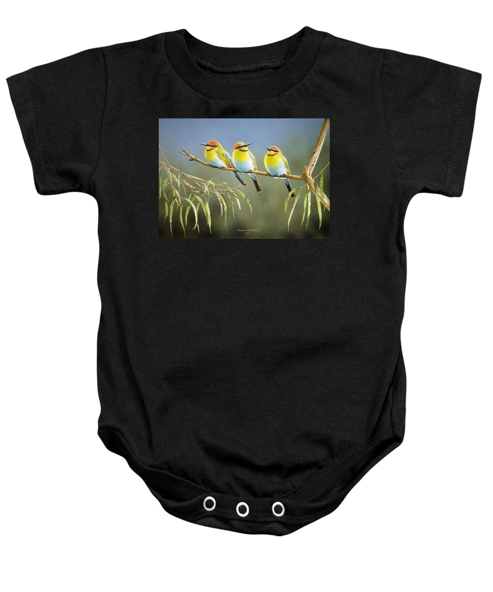 Bird Baby Onesie featuring the painting Afternoon Repose - Rainbow Bee-Eaters by Frances McMahon