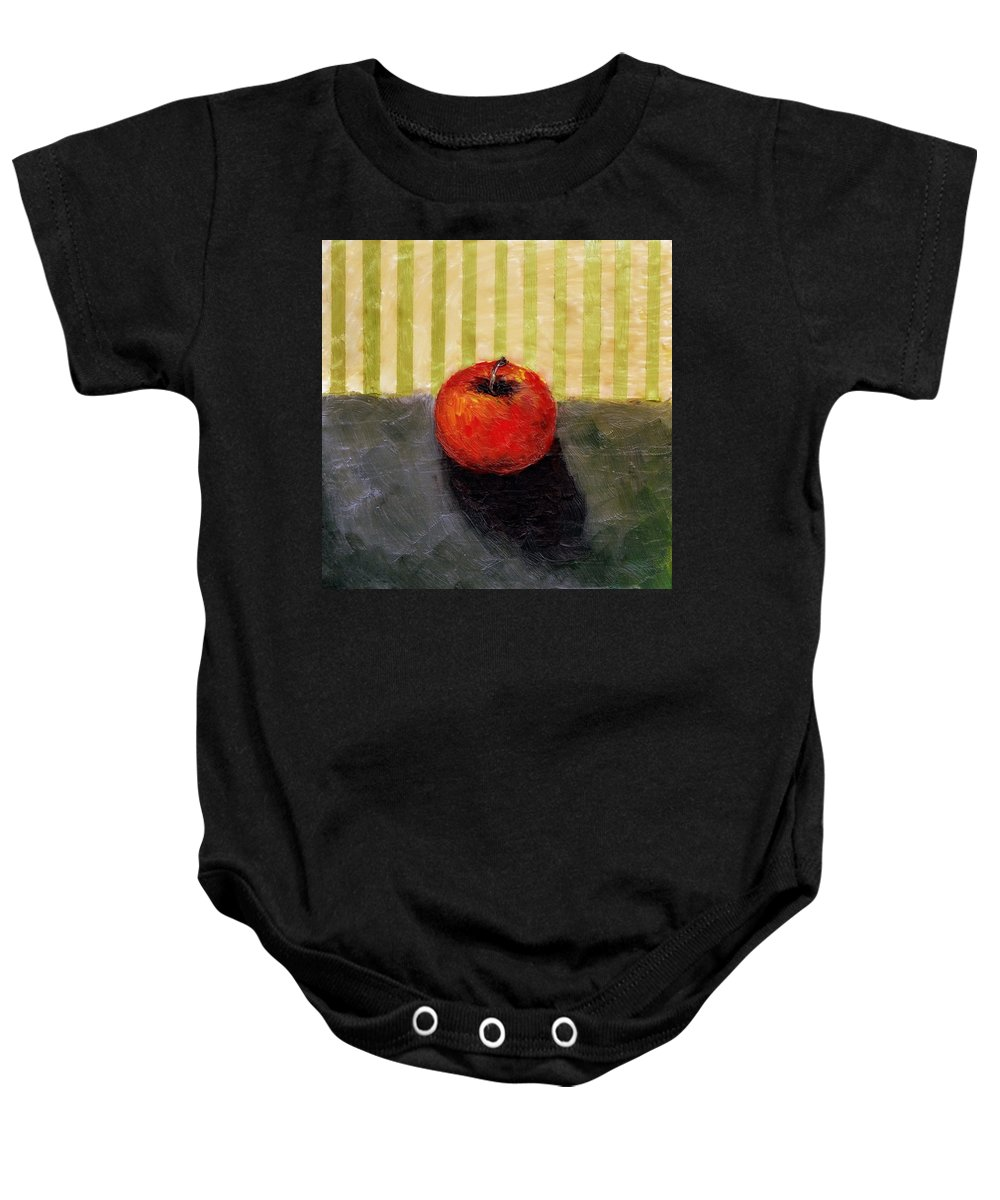Apple Baby Onesie featuring the painting Apple Still Life with Grey and Olive by Michelle Calkins