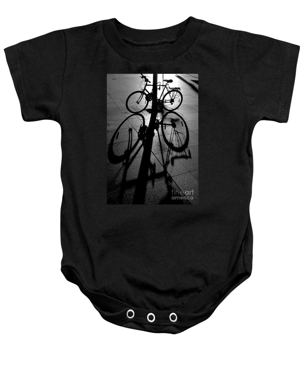 Bicycle Baby Onesie featuring the photograph Bicycle shadow by Sheila Smart Fine Art Photography