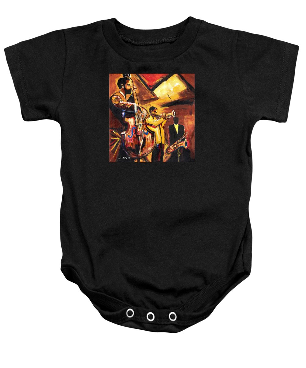 Everett Spruill Baby Onesie featuring the painting Birth Of Cool by Everett Spruill