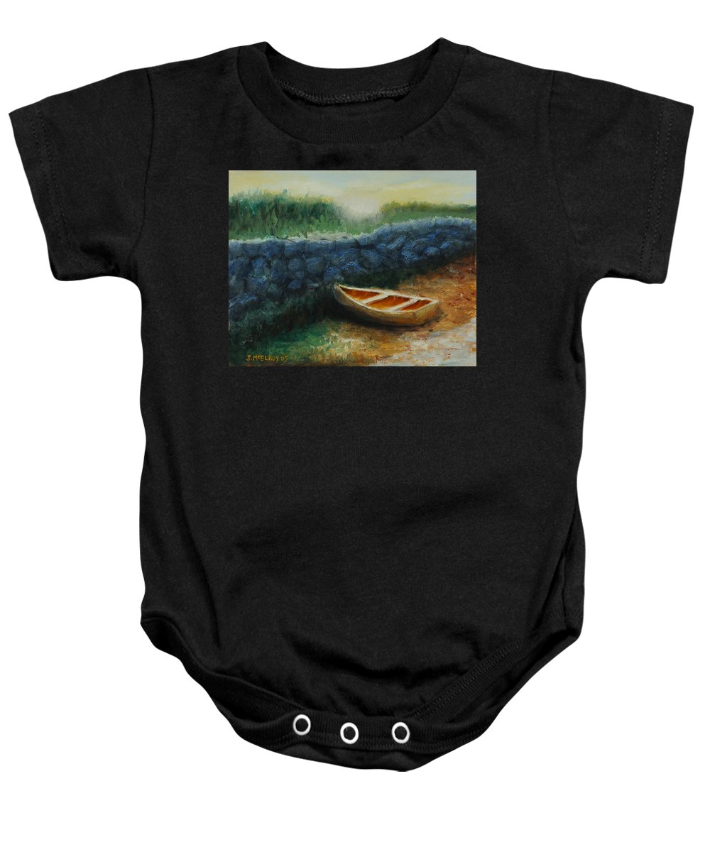 Row Boat Baby Onesie featuring the painting Boat by the Breakwall by Jerry McElroy