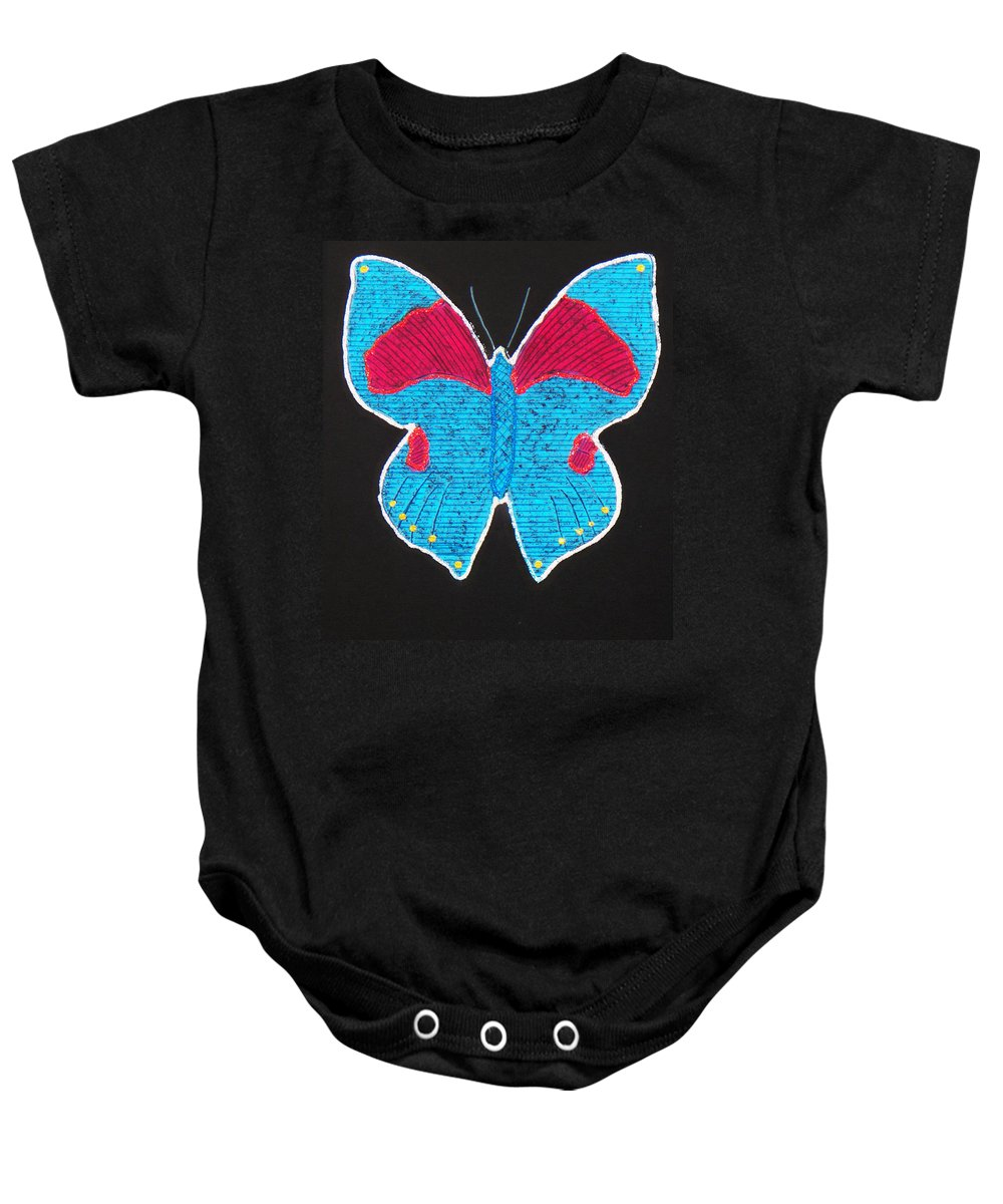 Drawing Baby Onesie featuring the mixed media Butterfly by Sergey Bezhinets