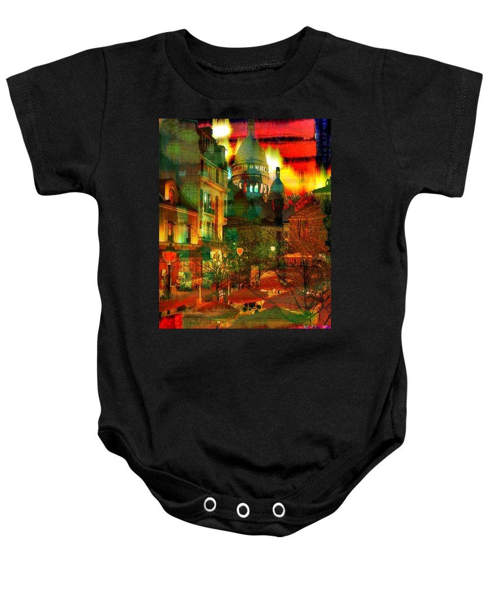 Paris Baby Onesie featuring the digital art Cafe Rue Morgue by Seth Weaver