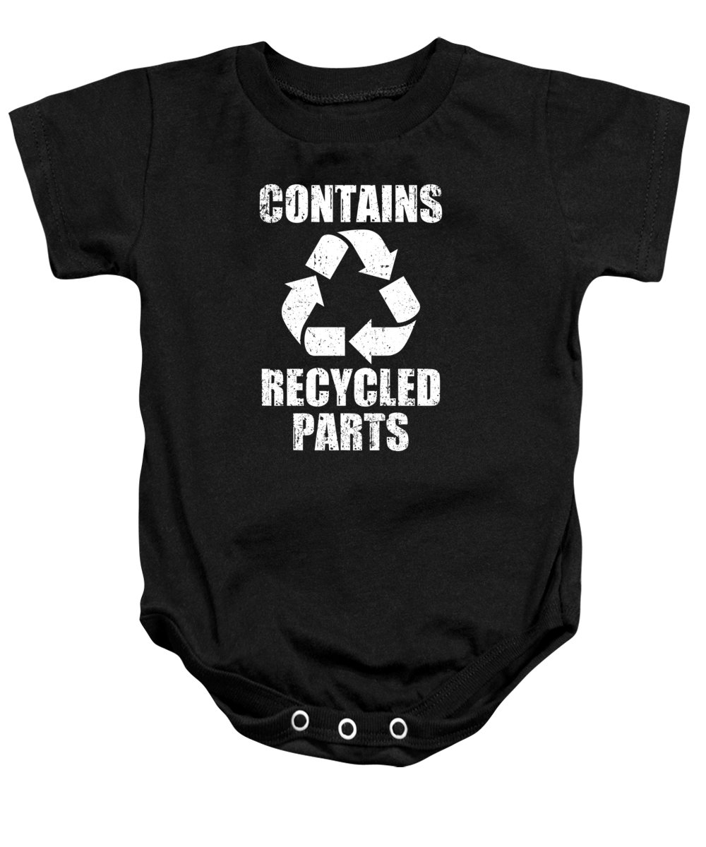 Warrior Baby Onesie featuring the digital art Contains Recycling Parts Heart Warrior Survivor For Patients by Tom Schiesswald