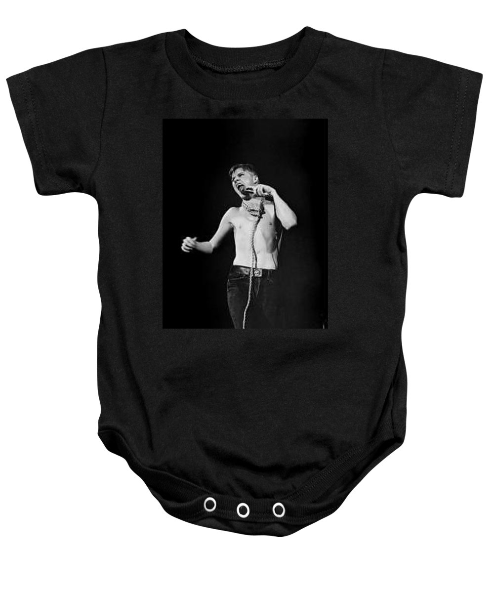 Darby Crash  The Germs  Punk Rock Whiskey Au Go Go Baby Onesie featuring the photograph Darby Crash At The Whiskey-copyright By Dawn Wirth by Dawn Wirth