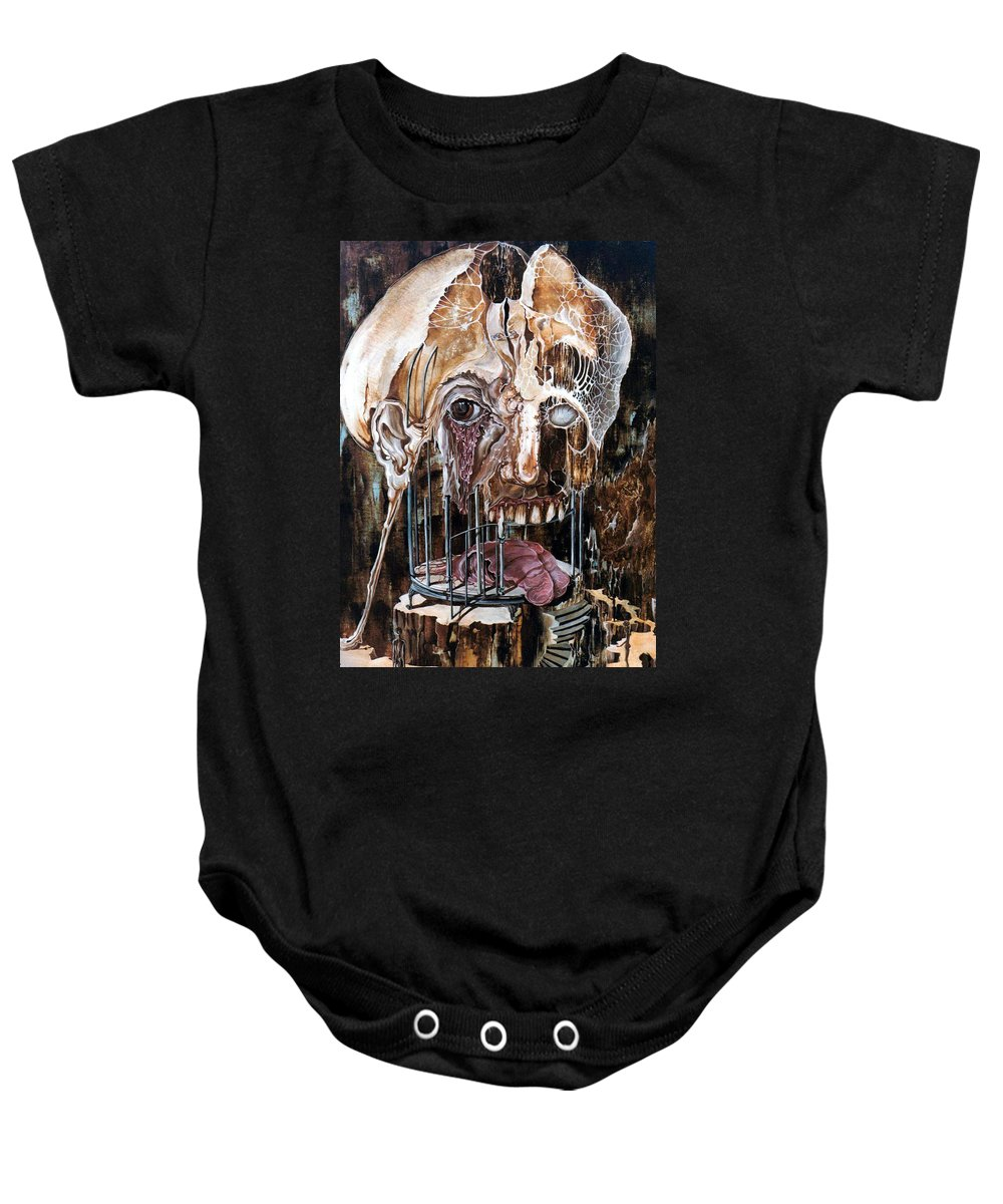Surrealism Baby Onesie featuring the painting Deterioration Of Mind Over Matter by Otto Rapp