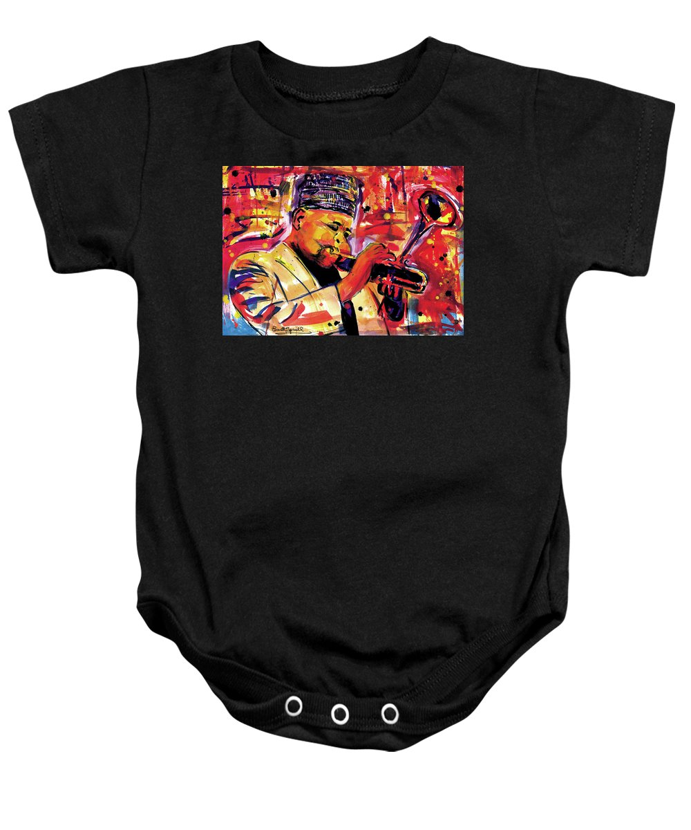 African Mask Baby Onesie featuring the painting Dizzy Gillespie by Everett Spruill