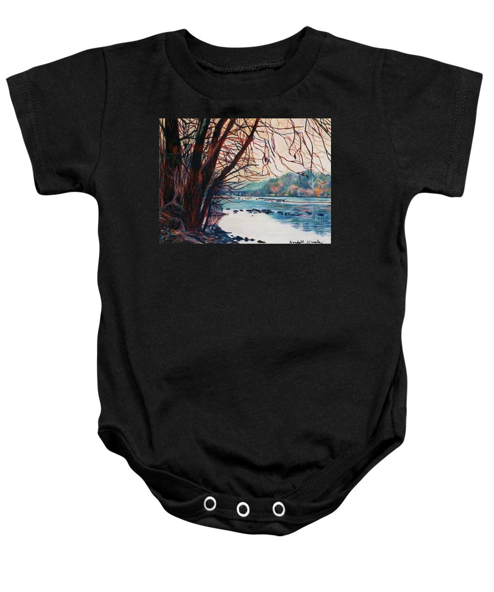 New River Baby Onesie featuring the pastel Fall on the New River by Kendall Kessler