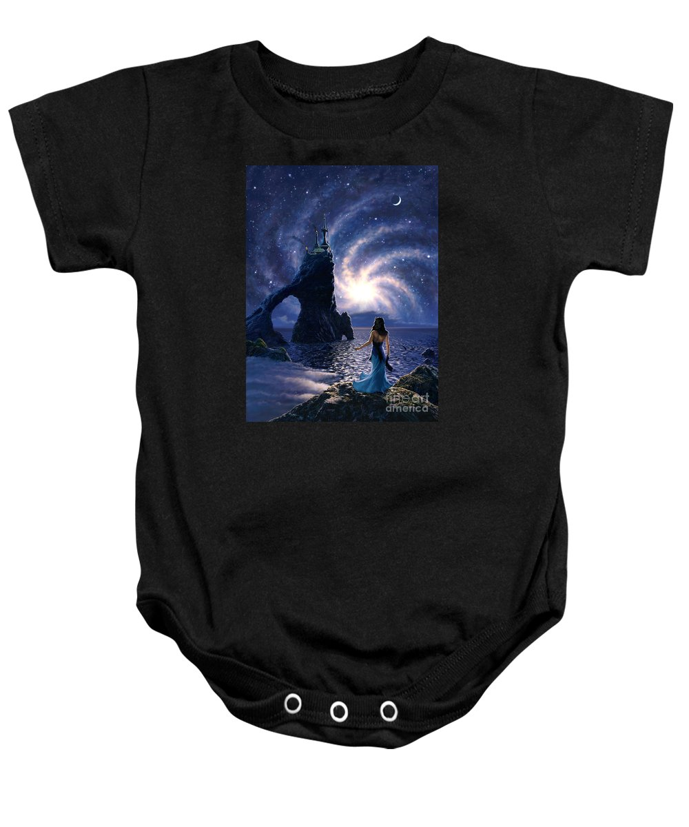 Space Baby Onesie featuring the painting Far Synura by Stu Shepherd