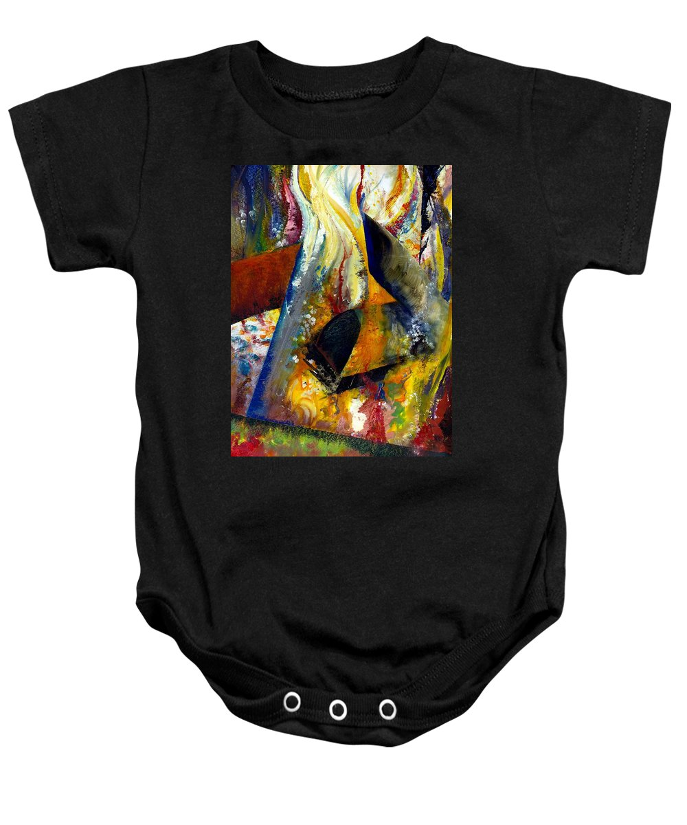 Rustic Baby Onesie featuring the painting Fire Abstract Study by Michelle Calkins
