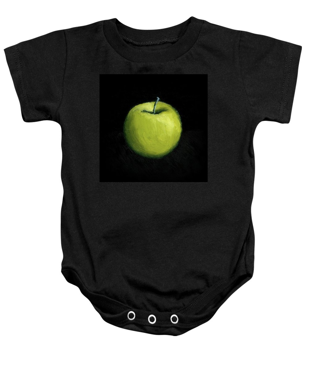 Apple Baby Onesie featuring the painting Green Apple Still Life by Michelle Calkins