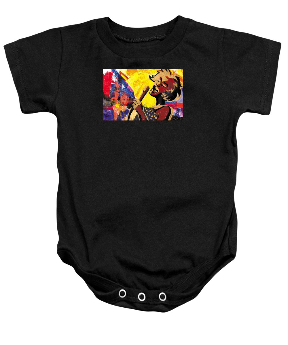 Everett Spruill Baby Onesie featuring the painting I Sings Da Blues by Everett Spruill