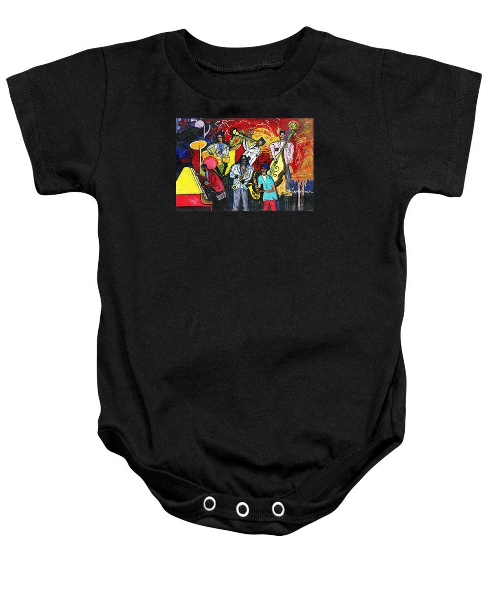 Everett Spruill Baby Onesie featuring the painting Jazz Abstracts by Everett Spruill