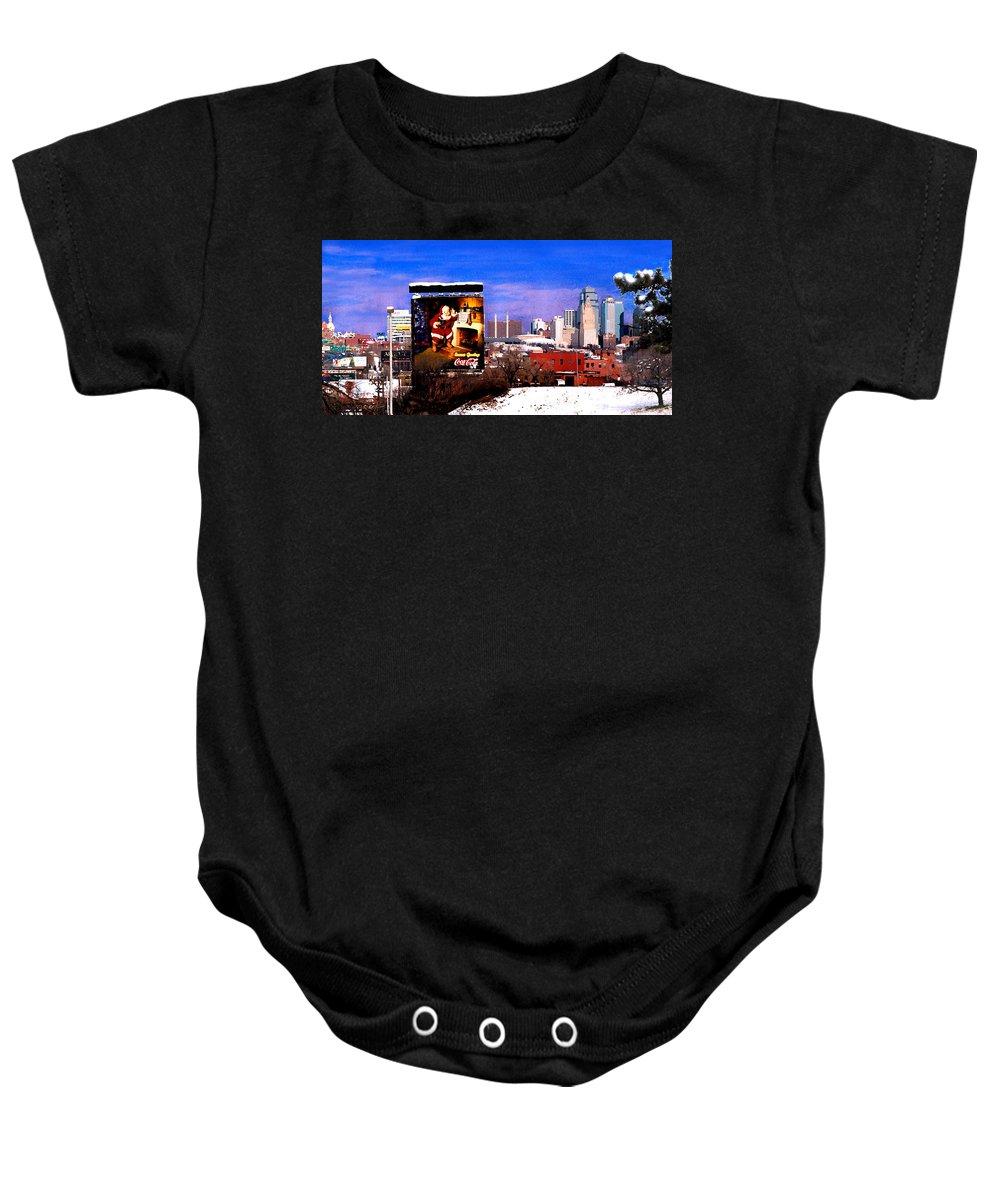 City Baby Onesie featuring the photograph Kansas City Skyline at Christmas by Steve Karol