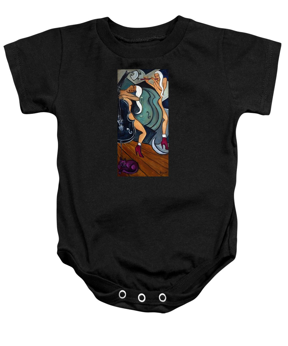 Cubic Abstract Baby Onesie featuring the painting Le Chat Rose by Valerie Vescovi