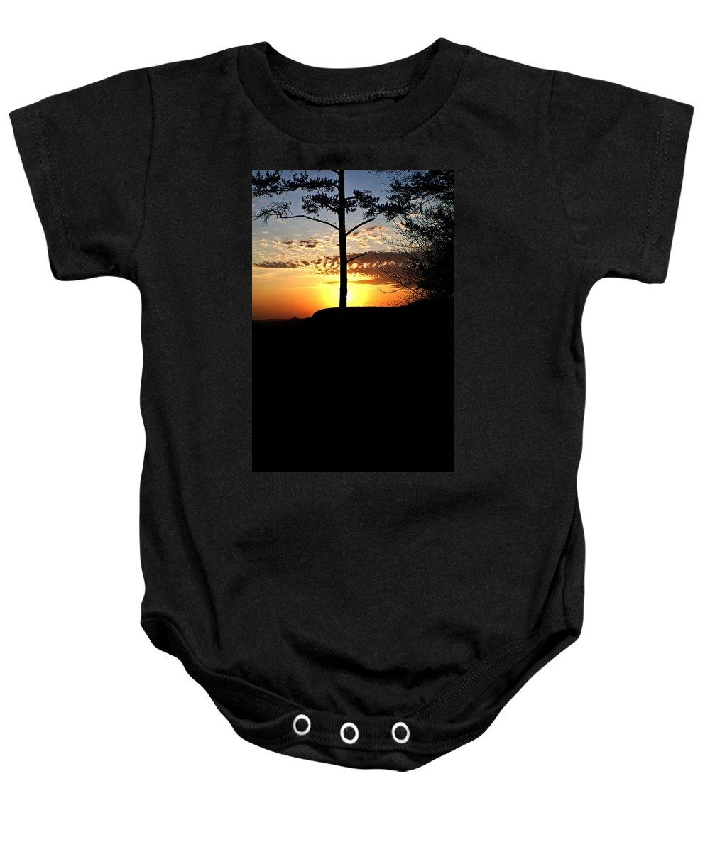 Lone Baby Onesie featuring the photograph Lone pine sunset by Douglas Barnett
