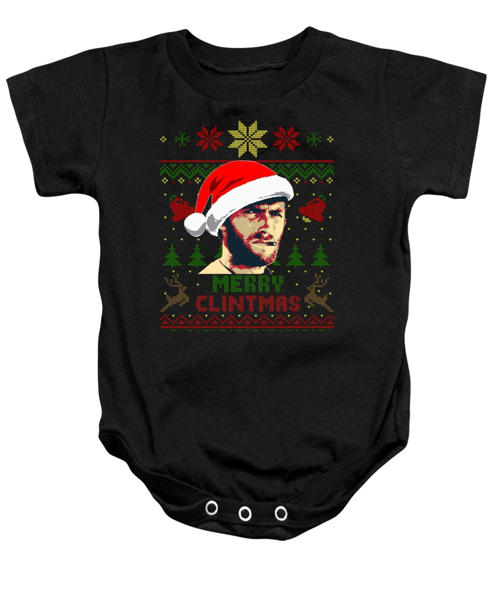 Santa Baby Onesie featuring the digital art Merry Clintmas Clint Eastwood Christmas by Filip Schpindel