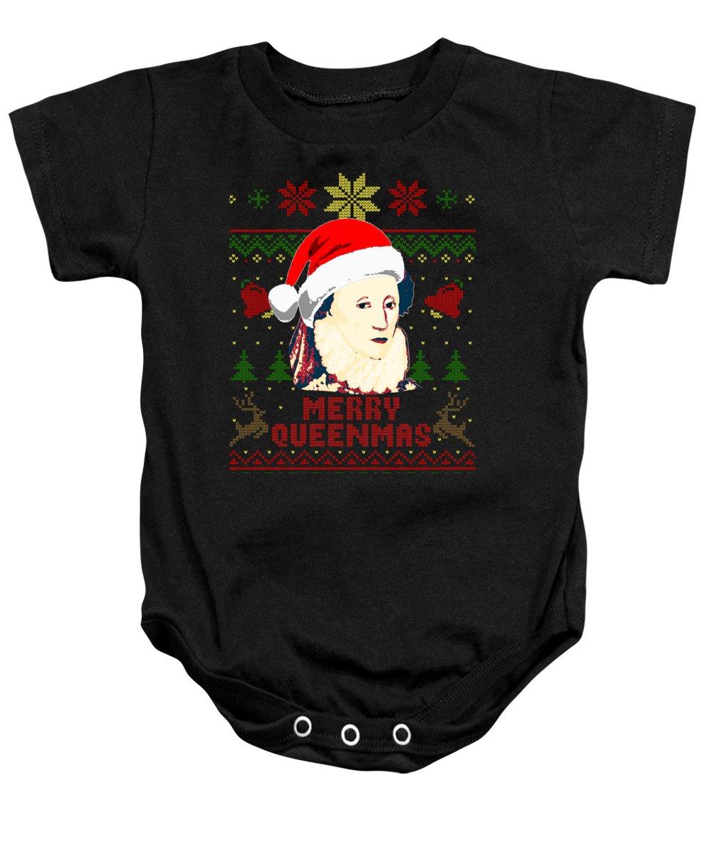 Santa Baby Onesie featuring the digital art Merry Queenmas Queen Elizabeth by Filip Schpindel