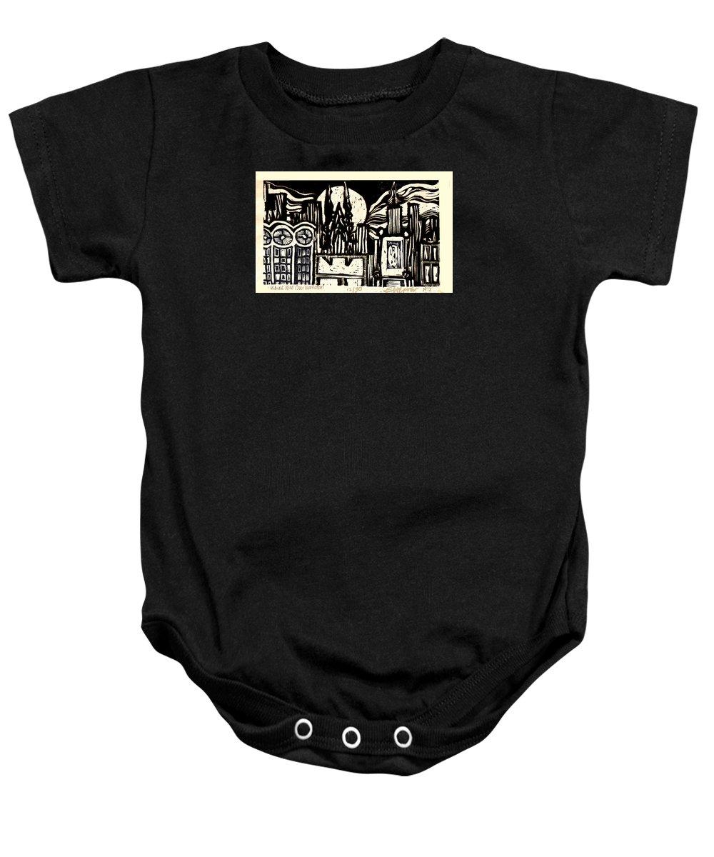 Bizarre Baby Onesie featuring the mixed media Midnight Wind Over Manhattan by Seth Weaver