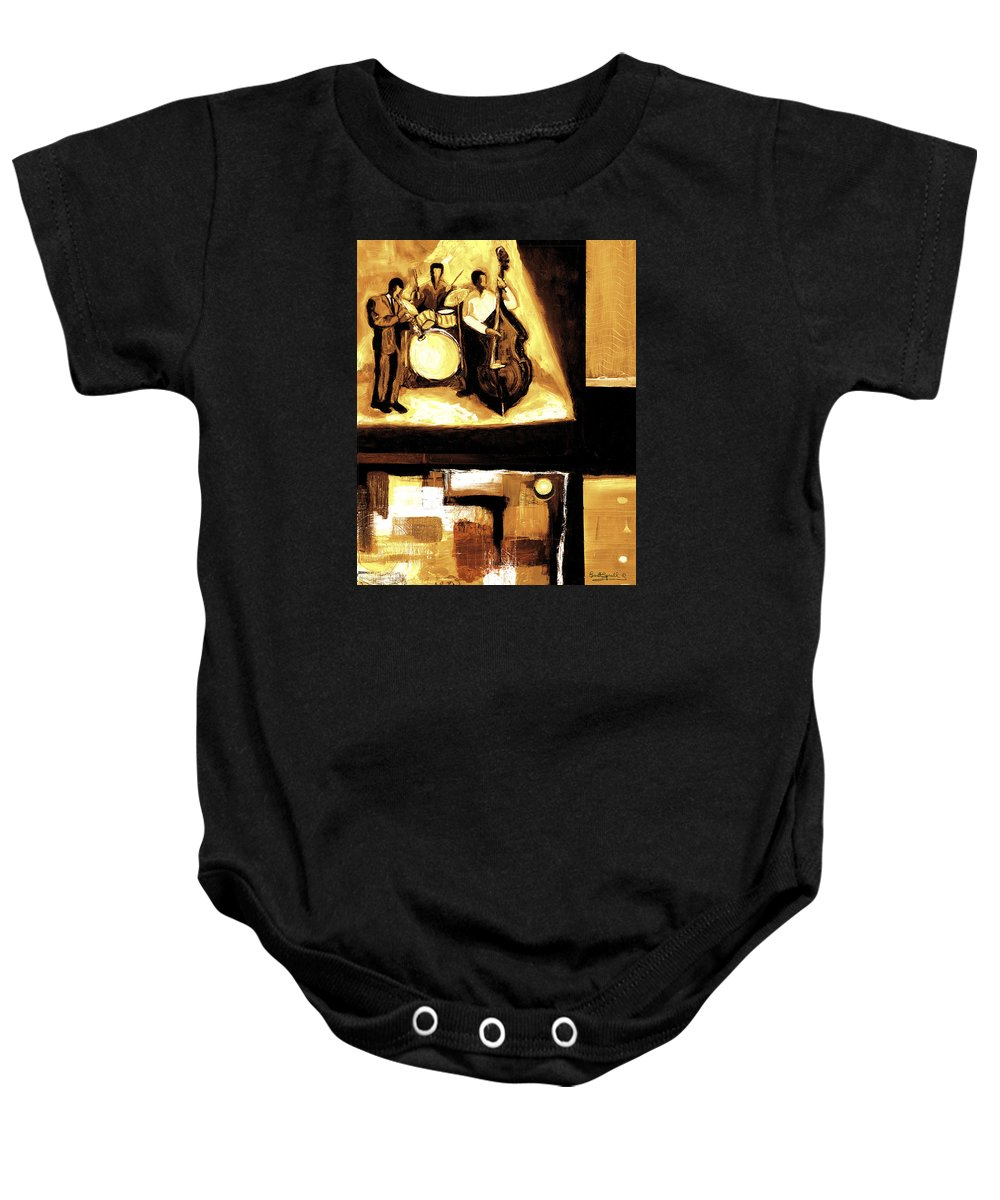 Everett Spruill Baby Onesie featuring the painting Modern Jazz Number Two by Everett Spruill