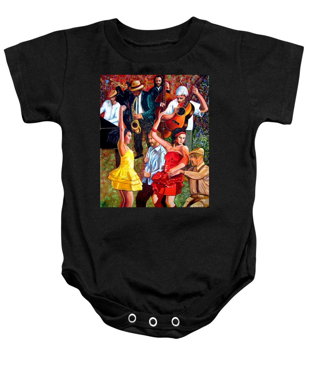 Cuban Art Baby Onesie featuring the painting Party times by Jose Manuel Abraham