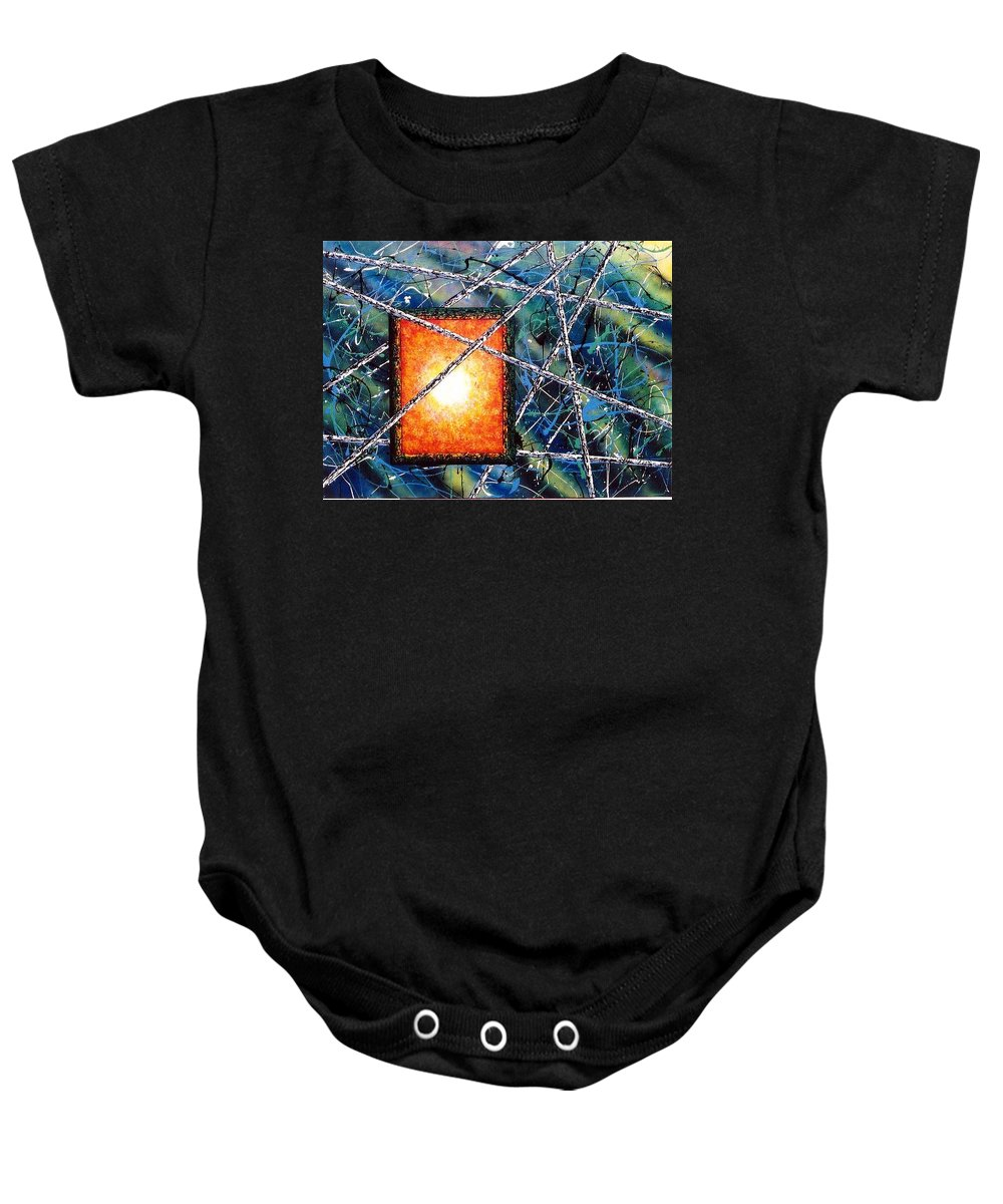 Contemporary / Abstract Baby Onesie featuring the painting Portal by Micah Guenther
