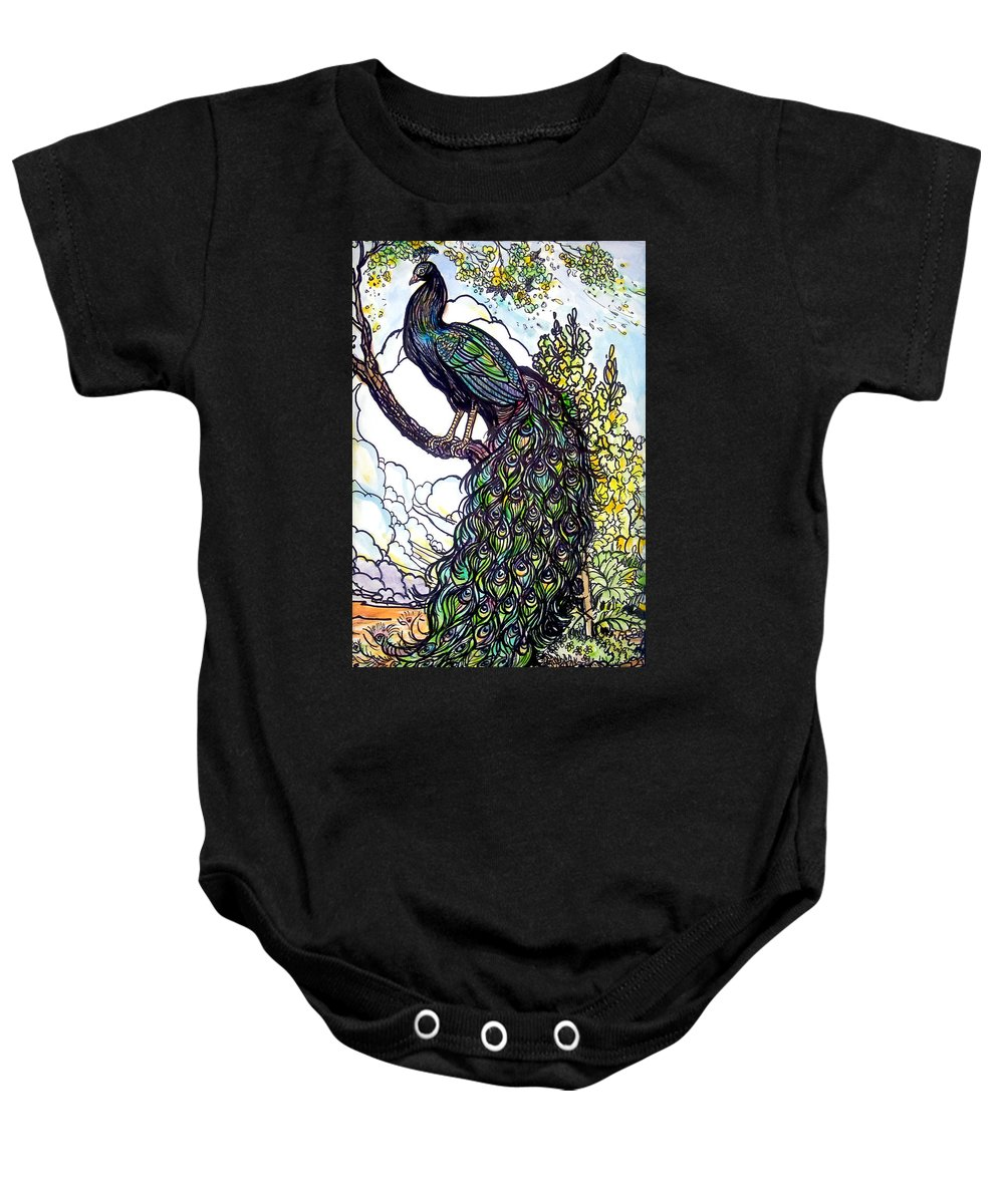 Peacock Baby Onesie featuring the painting Rainbow by Jose Manuel Abraham