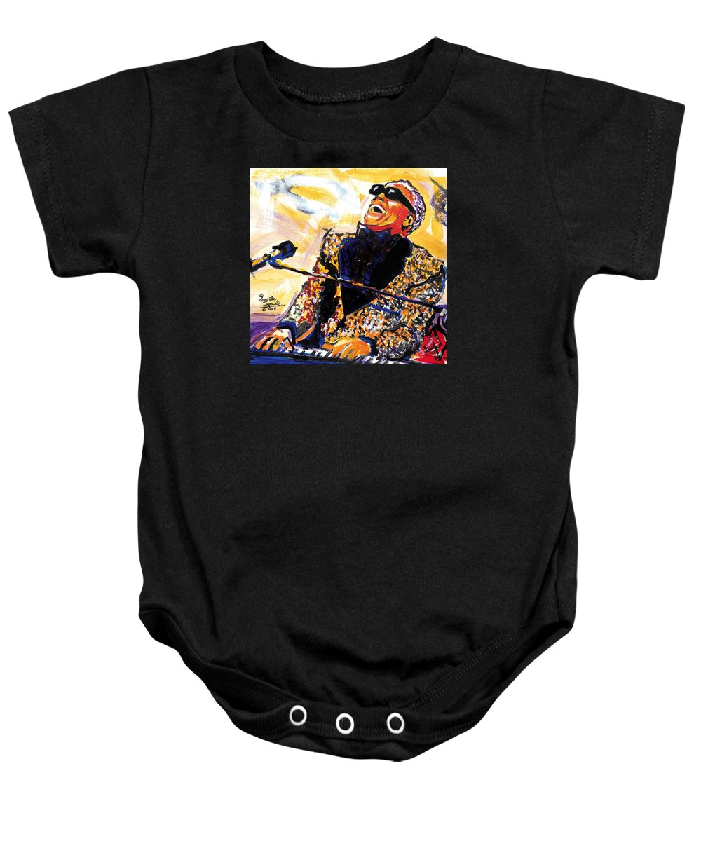 Everett Spruill Baby Onesie featuring the painting Ray Charles by Everett Spruill