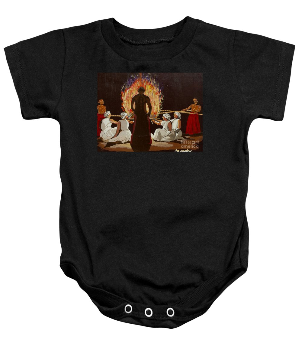 Fire Baby Onesie featuring the painting Ritual Fire by Anthony Dunphy