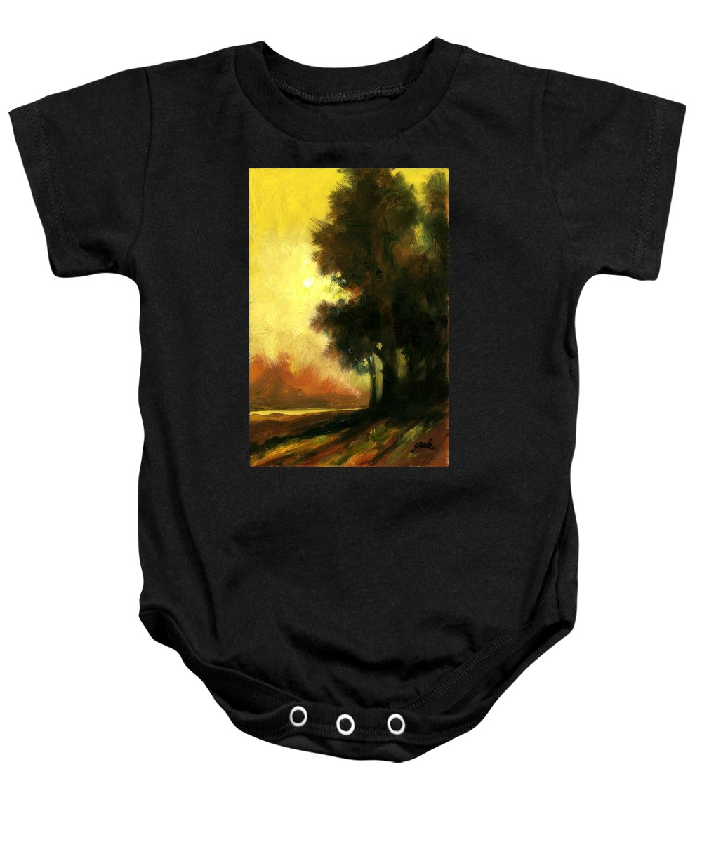 Landscape Baby Onesie featuring the painting Sailors Delight by Jim Gola