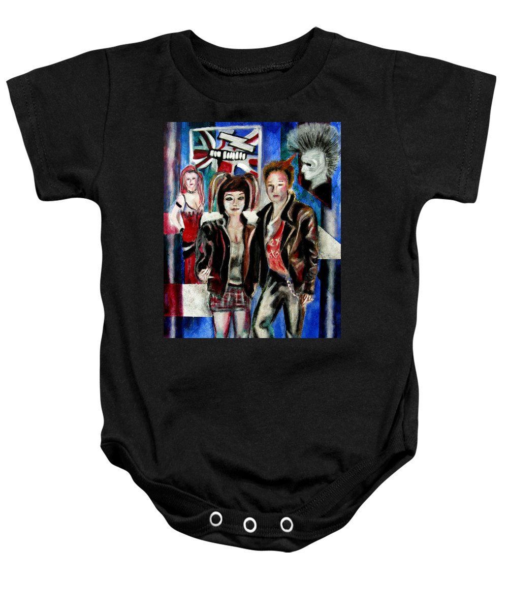 People Baby Onesie featuring the painting Sheena is a punk rocker by Tom Conway